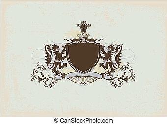 heraldic shield - An heraldic shield or badge with lion ,...