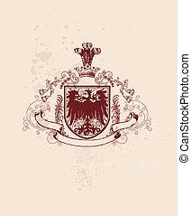 heraldic shield - An heraldic shield or badge with stylized...