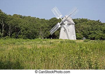 An historic Cape Cod wind mill at Brewster, Massachusetts - ...