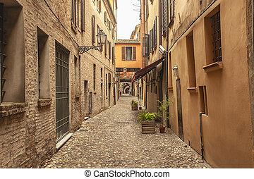 An historical alley in Ferrara in Italy 2