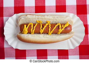 An hot dog with mustard on gingham