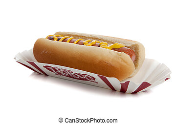 An hot dog with mustard