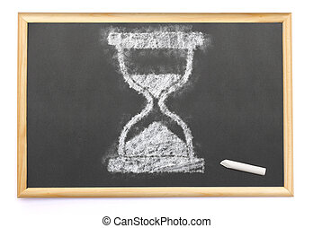 an hourglass drawn on a blackboard with chalk.(series)