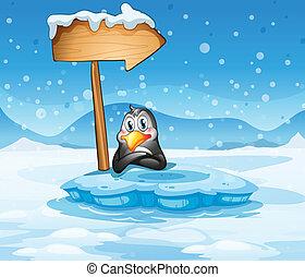 An iceberg with a penguin and an arrow
