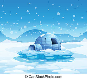 An iceberg with an igloo