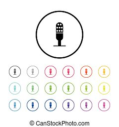 Icon Illustration with 18 Color Variations - Microphone