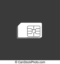 Icon Isolated on a Grey Background - SIM Card