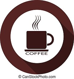 An icon of a cup of coffee on a white circle. White flat image with a long shadow.