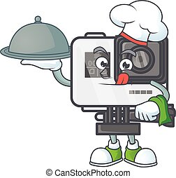 An icon of action camera as a Chef with food on tray ready to serve
