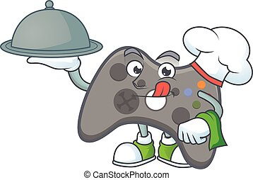 An icon of black joystick as a Chef with food on tray ready to serve