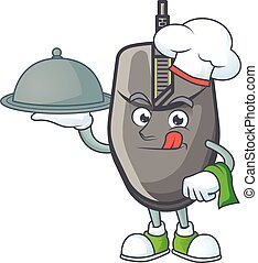 An icon of black mouse as a Chef with food on tray ready to serve