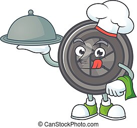 An icon of camera lens as a Chef with food on tray ready to serve