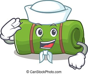 An icon of camping mat Scroll Sailor cartoon character...