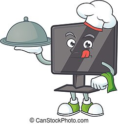 An icon of computer screen as a Chef with food on tray ready to serve