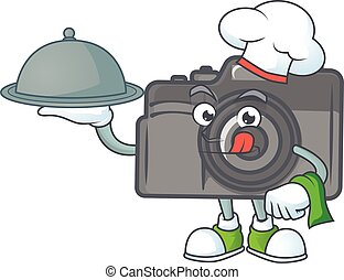 An icon of digital camera as a Chef with food on tray ready to serve
