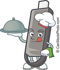 An icon of flashdisk as a Chef with food on tray ready to serve