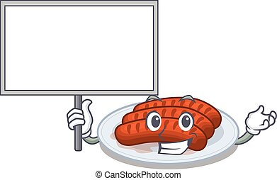 An icon of grilled sausage mascot design style bring a board