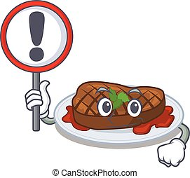 An icon of grilled steak cartoon design style with a sign board