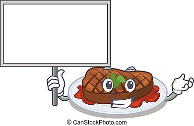 An icon of grilled steak mascot design style bring a board. ...