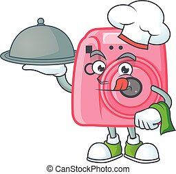 An icon of instan camera as a Chef with food on tray ready to serve