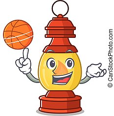 An icon of lantern Scroll cartoon character playing basketball