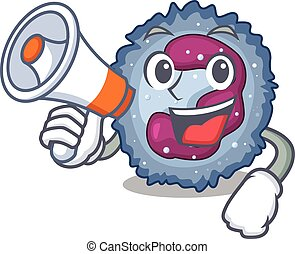 An icon of neutrophil cell having a megaphone. Vector ...