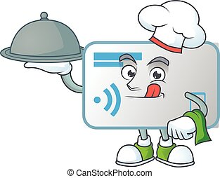 An icon of NFC card as a Chef with food on tray ready to serve