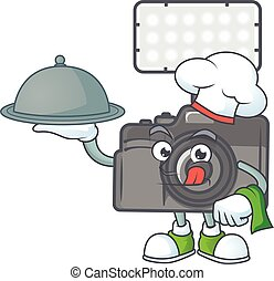 An icon of photo camera with lighting as a Chef with food on tray ready to serve