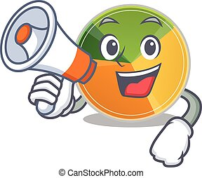 An icon of pie chart having a megaphone