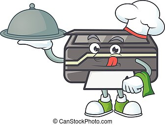 An icon of printer as a Chef with food on tray ready to serve