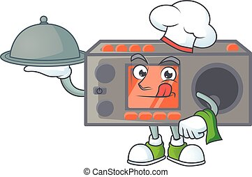 An icon of radio transceiver as a Chef with food on tray ready to serve