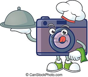 An icon of retro camera as a Chef with food on tray ready to serve