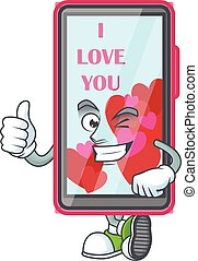 An icon of smartphone love making Thumbs up gesture