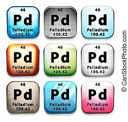 An icon with the chemical element Palladium on a white...
