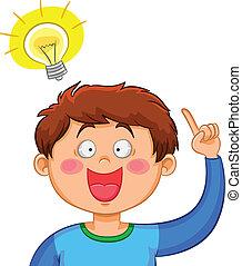 an idea - boy coming up with a good idea