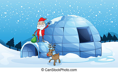 an igloo and a santa clause - illustration of an igloo and a...