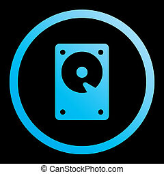 Illustrated Icon Isolated on a Background - Hard Disk - An...