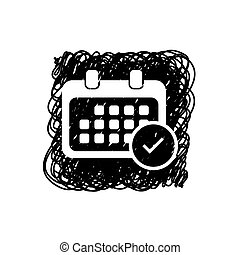 Illustrated Icon Isolated on a Background - Rounded Calendar Accept