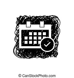 Illustrated Icon Isolated on a Background - Square Calendar Accept