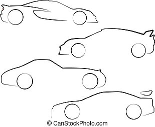 An Illustrated outline of Cars on white background