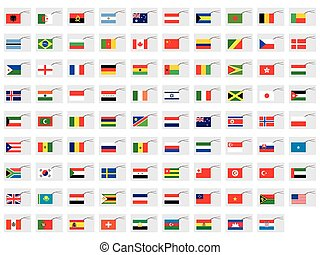 Illustrated Set of World Flags - Tags