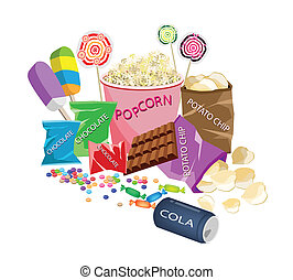 Movie Food, An Illustration of Popcorn, Popsicles, Lollipops, Chocolate Bar, Chocolates Candies, Hard Candies and Potato Chips Prepared to Watching A Cinema