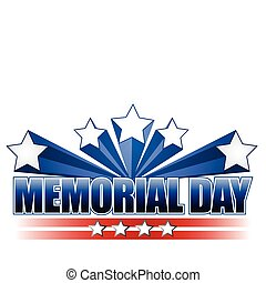 An illustration for Memorial Day with the American flag colors isolated over white