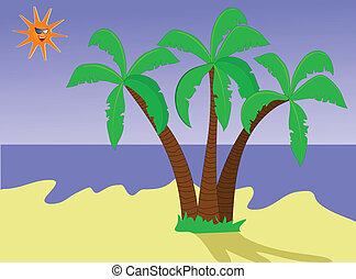 An illustration of a  a desert island