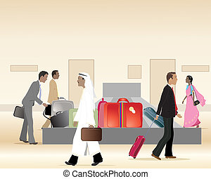 an illustration of a baggage carousel at an airport terminal with people waiting for luggage