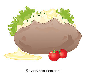baked potato - an illustration of a baked potato with fluffy...