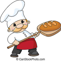 An illustration of a baker with bread
