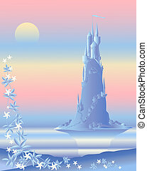 an illustration of a beautiful fairytale castle bathed in pastel light with mirror lake and jasmine flowers in the foreground
