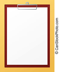An illustration of a blank clip board ready for you to add your own text