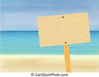 Blank Wooden Signboard On the Beach